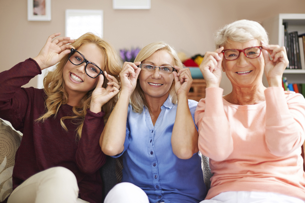 Family excited for their new pair of glasses.